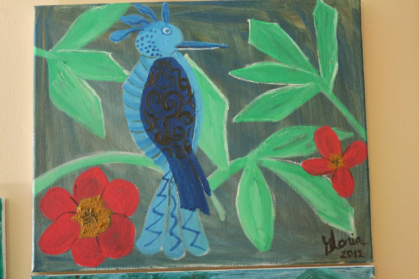 """Blue bird in forest"" oil on canvas by Gloria Poole of Missouri; yr 2012"