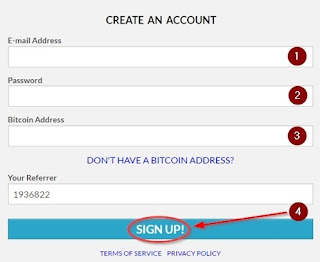 Apna Email, Password Aur Bitcoin Address dale