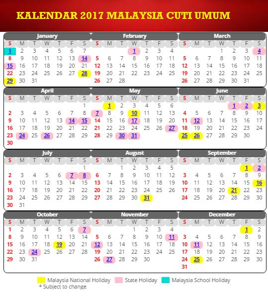 Kalendar 2017 Amp Cuti Umum Malaysia Arnamee Blogspot