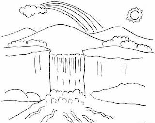 Sketsa Mewarnai Gambar Pemandangan Alam Pegunungan 20167