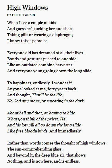 the concept of contraceptives in high windows a poem by philip larkin Essays and criticism on philip larkin - larkin, philip (vol 9) like the high windows of his fine title poem such a concept.