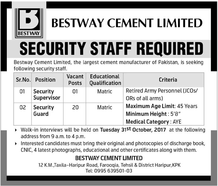 Jobs In Bestway Cement Limited KPK Oct 2017