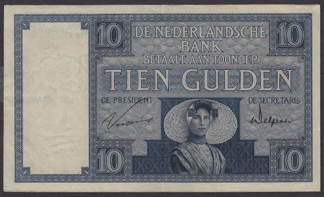 Netherlands banknotes currency Dutch Guilder 10 Gulden banknote bill Zeeland woman