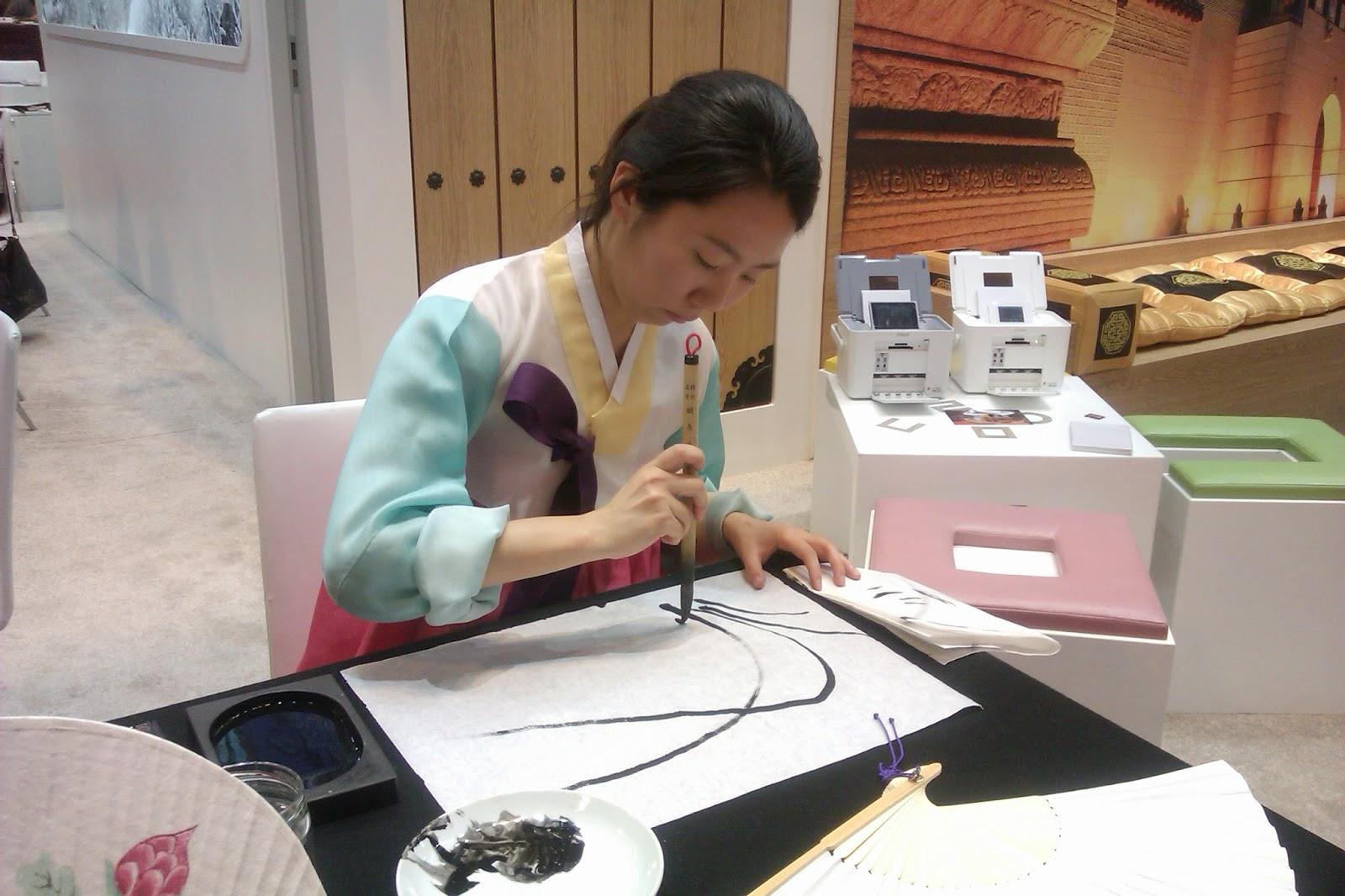 Demostración de dibujo con tinta china