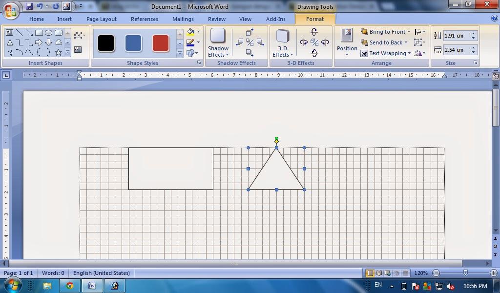 Cara Membuat Bangun Datar Dengan Gridlines Dengan Ms Word Fungsi Shapes Dan Gridlines Tutorial Komputer