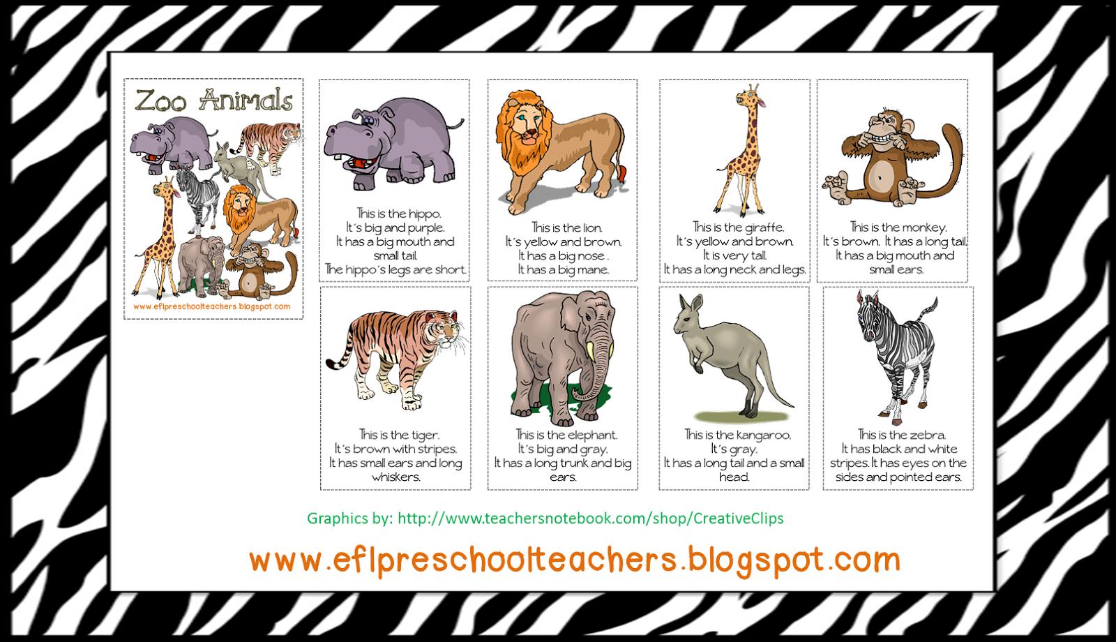 Esl Efl Preschool Teachers Zoo Or Jungle Theme