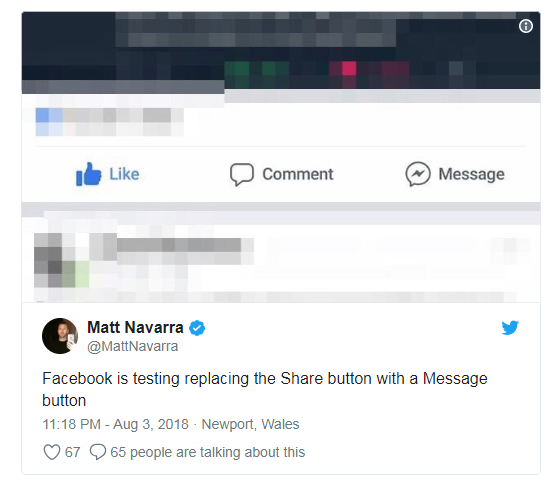 As the leak suggests, the button will directly make you share posts to Messengers chat and groups.