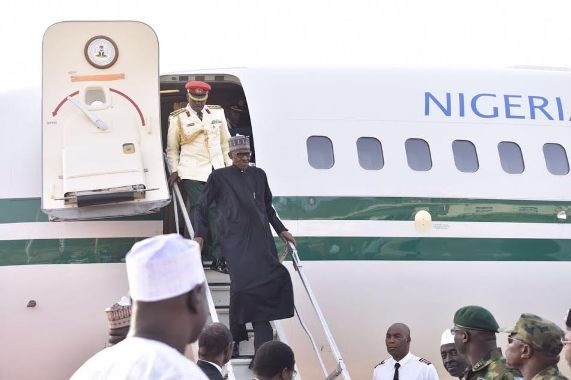 First Photos of President Buhari as he lands Nigeria this morning