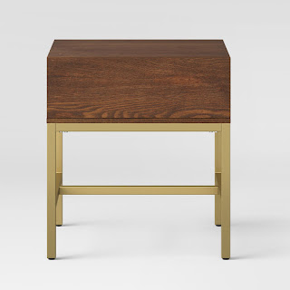 Affordable Modern Walnut and Brass Side Table or Nightstand