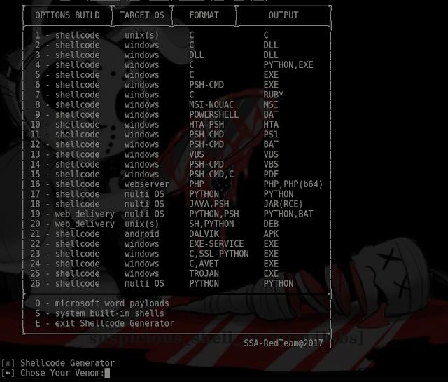 VENOM 1 0 15 - Metasploit Shellcode Generator/Compiler/Listener
