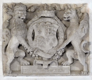 Royal coat of arms from Sandsfoot Castle in All Saints Church, Wyke Regis
