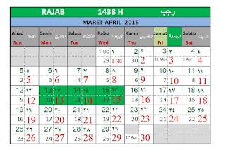 Bulan Rajab 1438 H Kalender Islam Bersatu
