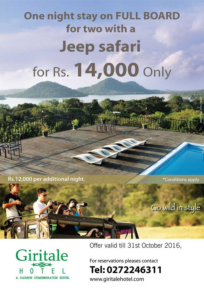 One night stay on F/B for two with a Jeep safari for Rs.14000/=