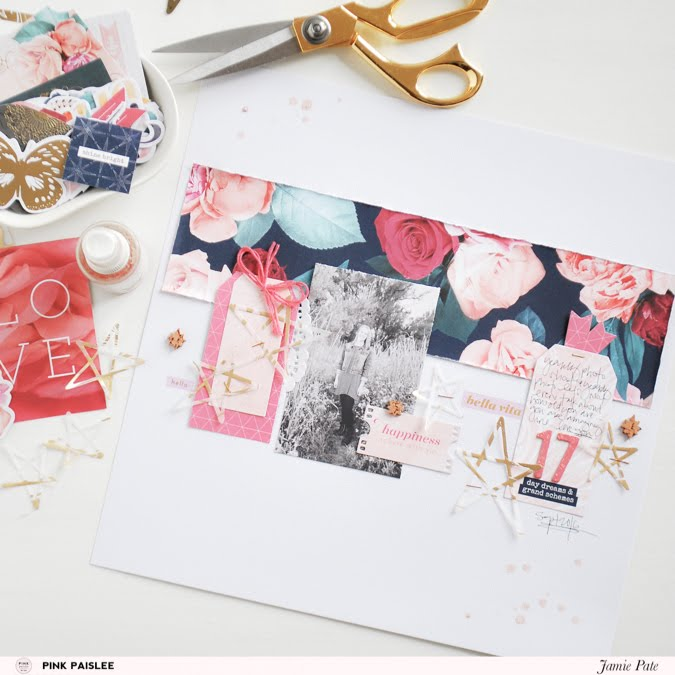 Pink Paislee Gold Vellum Die Cut Stars are the star of the show by Jamie Pate  |  @jamiepate for @pinkpaislee