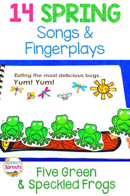 14 preschool songs and fingerplays for spring that are perfect for speech and language therapy. Using visuals like this interactive flipbook for Five Green and Speckled Frogs help children with story re-telling.  #speechsprouts #speechtherapy #preschool  www.speechsproutstherapy.com