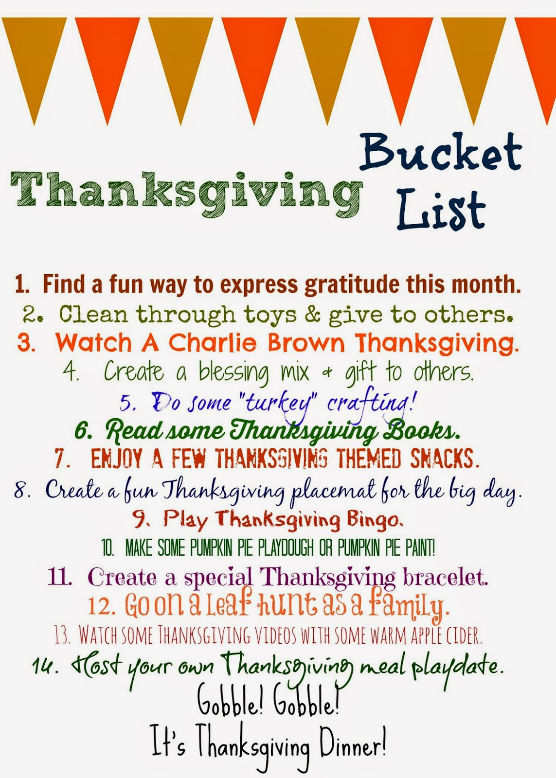Thanksgiving Bucket List Free Printable