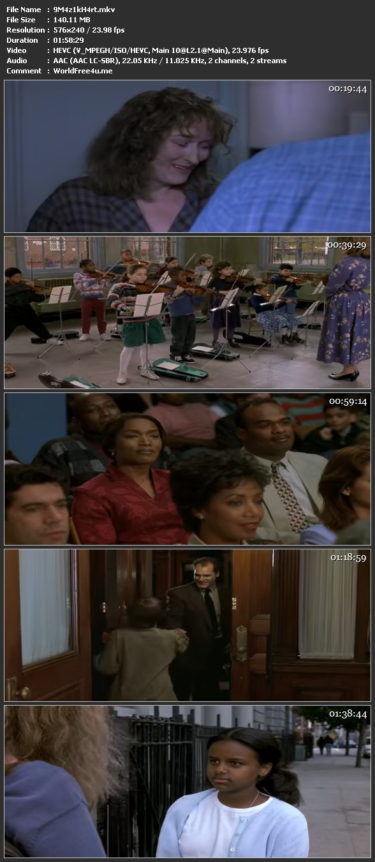 Screen Shot Of Music of the Heart 1999 In Hindi Dual Audio BRRip 100MB Mobile HEVC