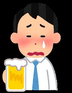 酔っぱらいのイラスト(男性・泣いた顔)