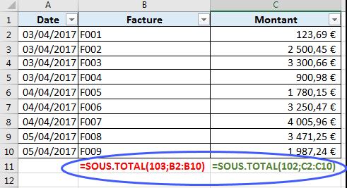 Utiliser les fonctions 102 NB et 103 NBVAL dans SOUS TOTAL