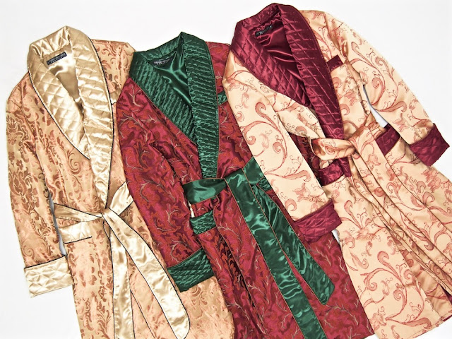 Mens long silk robes quilted paisley dressing gowns gold red