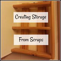 Homemade shelf with title overlaid
