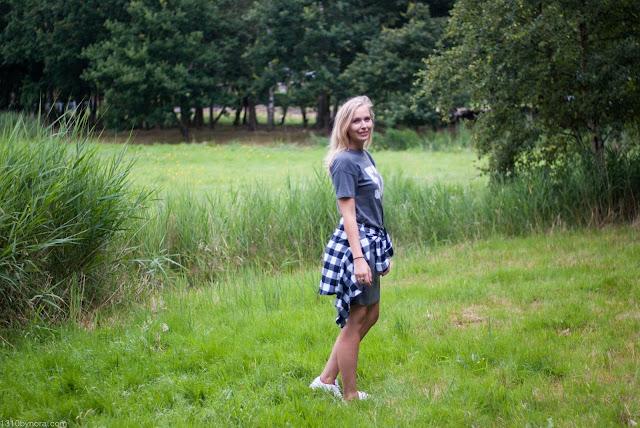 Shirtdress, checkedblouse, fashion, shein, she inside, nike, sneakers, summer, summeroutfit,