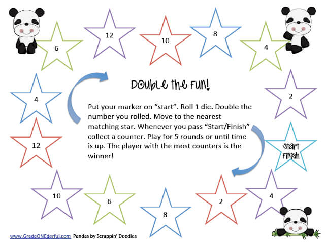 FREE math game for learning doubles facts. Perfect for kindie and grade 1.