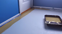 cut in along the walls to keep from getting anything on your baseboards