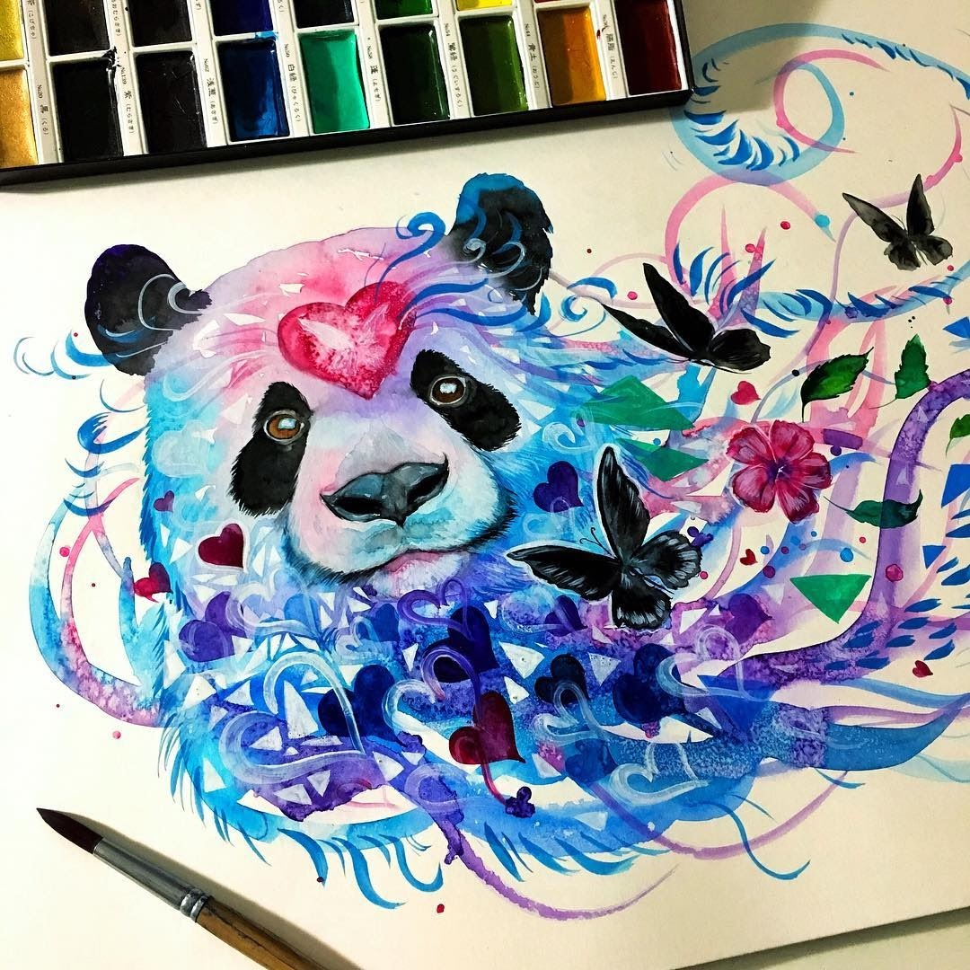 10-Panda-Pixie-Cold-Fantasy-Animals-in-Different-Style-Drawings-www-designstack-co