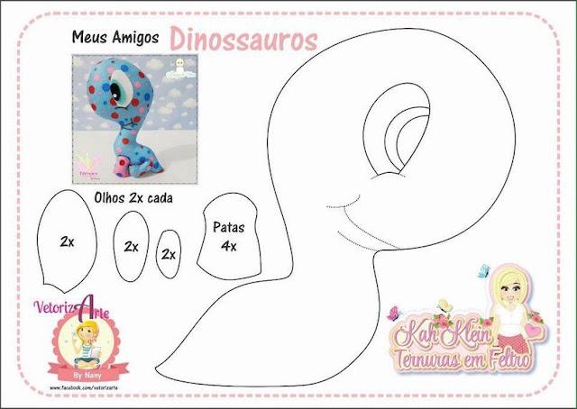 Muito Molde de Dinossauros baby em Feltro - Como Fazer GF78