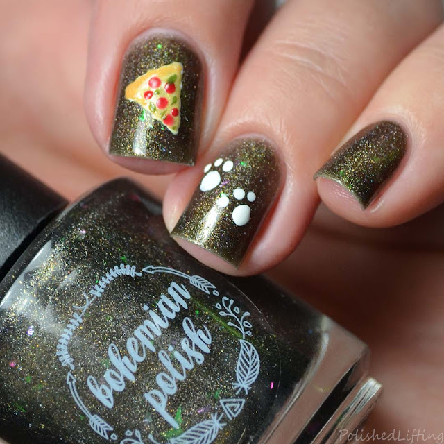 pizza cat themed nail art