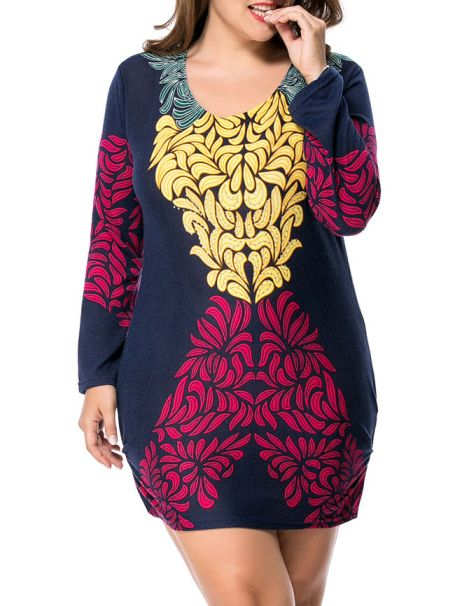 Round Neck Printed Mini Plus Size Bodycon Dress -FashionMia Price: US$16.95