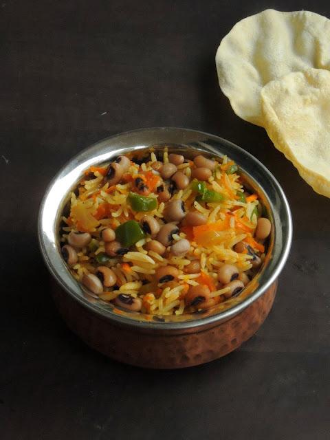 Vegan Black-eyed peas, Carrot Rice, Carrot & Capsicum Lobia rice