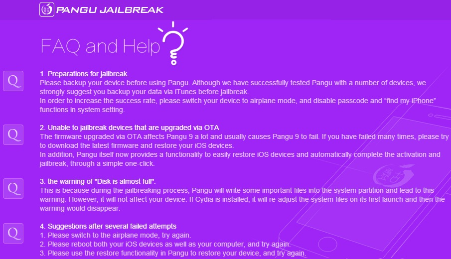 FAQ, Help, Requirements and Guidelines for PanGu iOS 9 / tvOS 9 Jailbreak