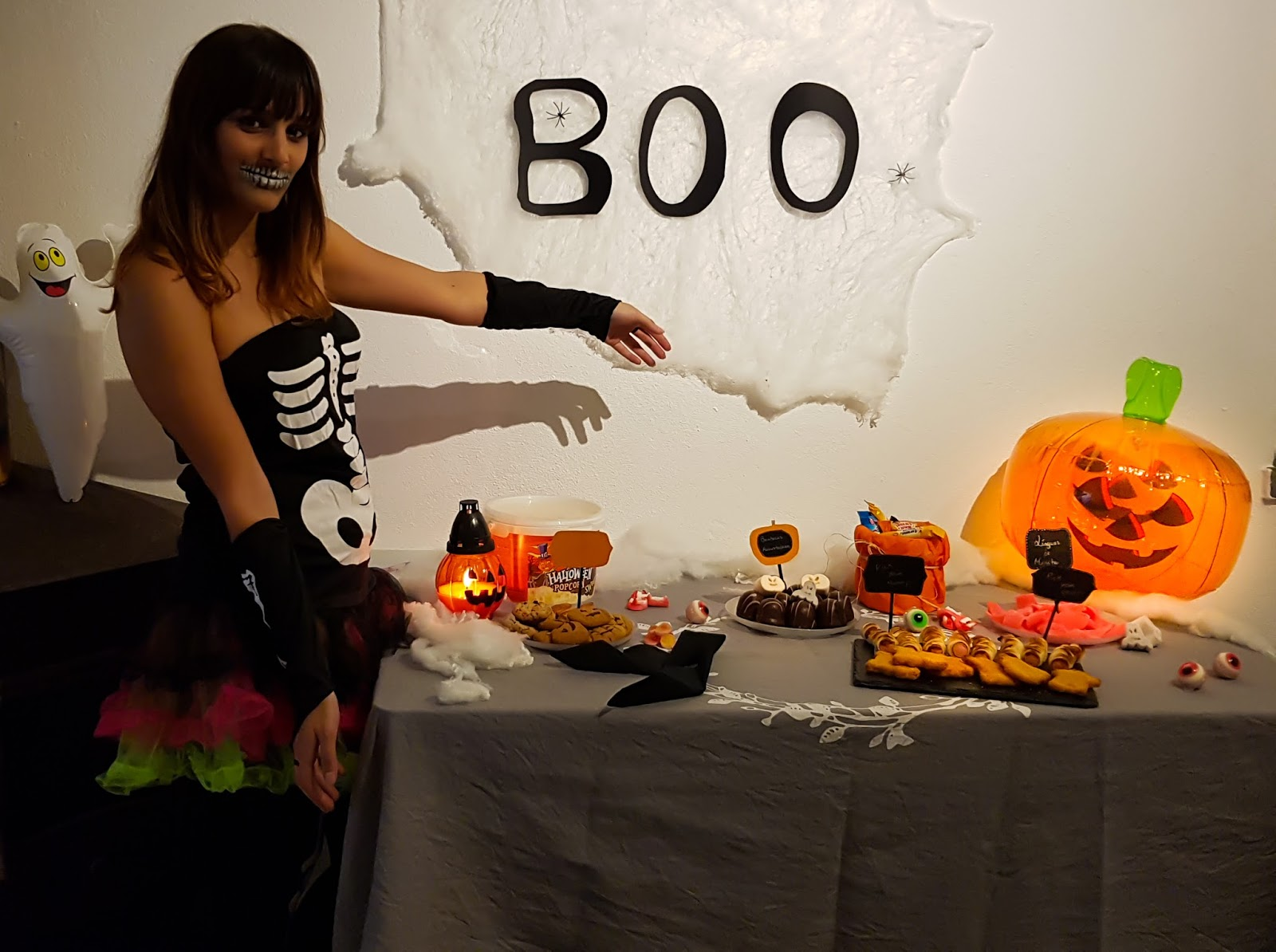 halloween masks and food