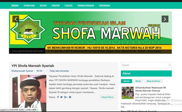 Wesite yayasan Pendidikan IslamShofa Marwah Cianjur