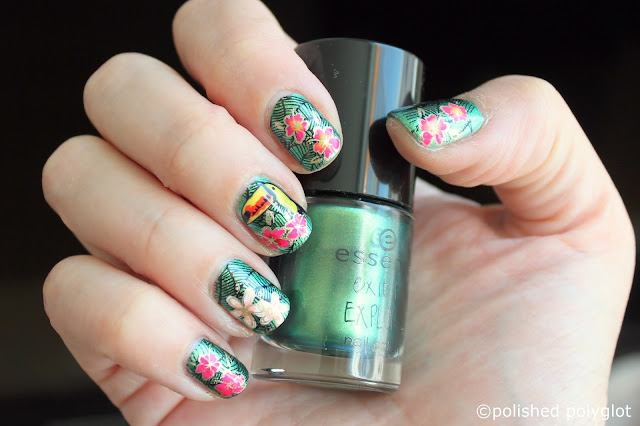 nail art for short nails: tropical stamping decals