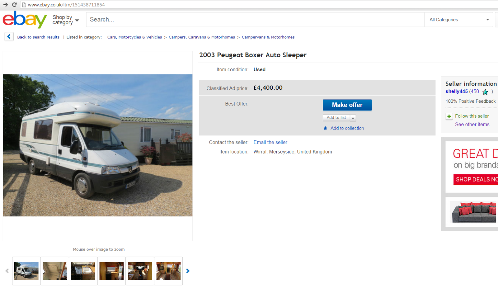 "Auto Sleepers For Sale On Ebay: SCAM 2003 Peugeot Boxer Auto Sleeper Motorhome ""HW03GHG"