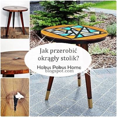 """Okrągły stolik """"Geometryczny wariat"""" - kolory i kształty blat górą! Zobacz, jak powstała ta metamorfoza."""