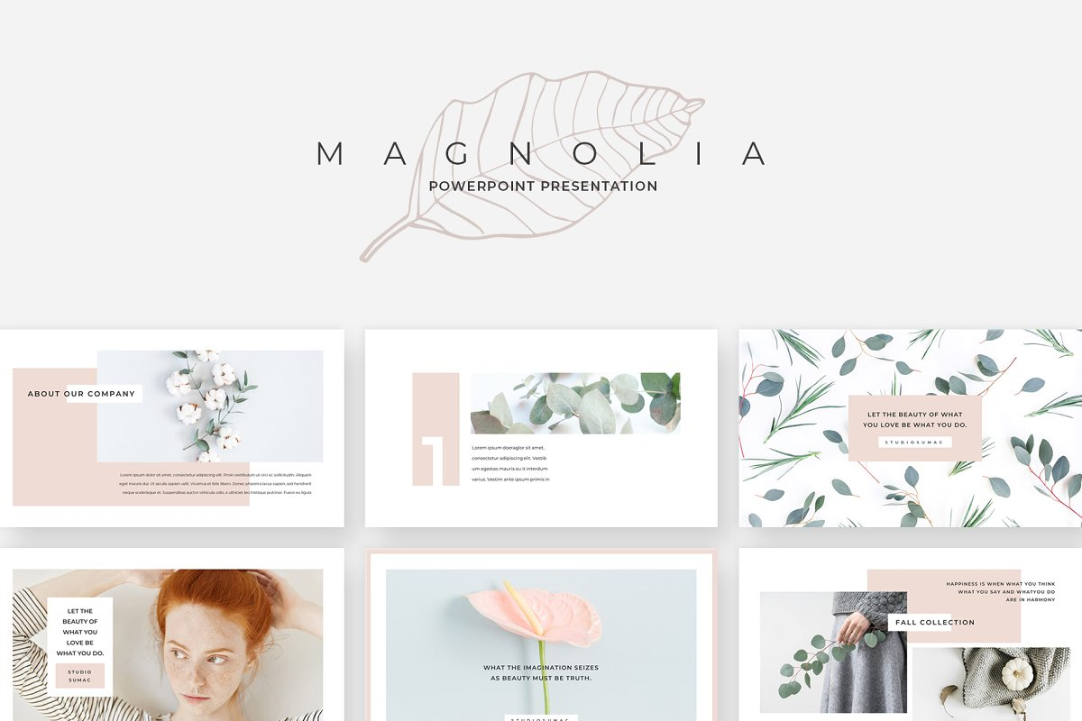 Magnolia Floral Powerpoint Presentation Template Download