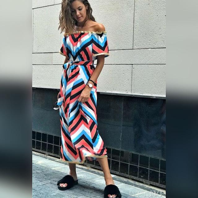 Κοντομάνικο μάξι χρωματιστό φόρεμα LASI