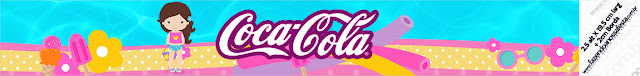 Etiquetas para botellas de Fiesta en la Piscina para Niña Morena para imprimir gratis.