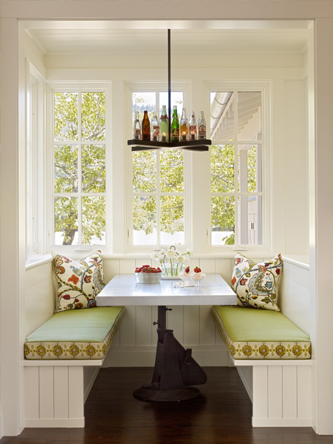 Kitchen banquette dining table in Napa Valley farmhouse by Ken Fulk in C Magazine
