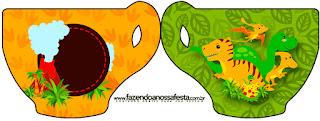 Tarjeta con forma de taza de Fiesta de Dinosaurios.