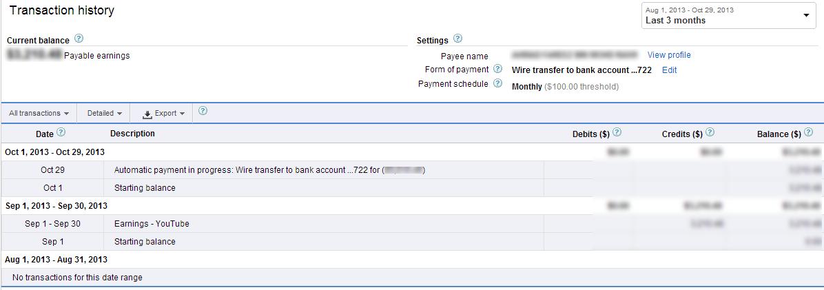 AdSense Payment via Wire Transfer