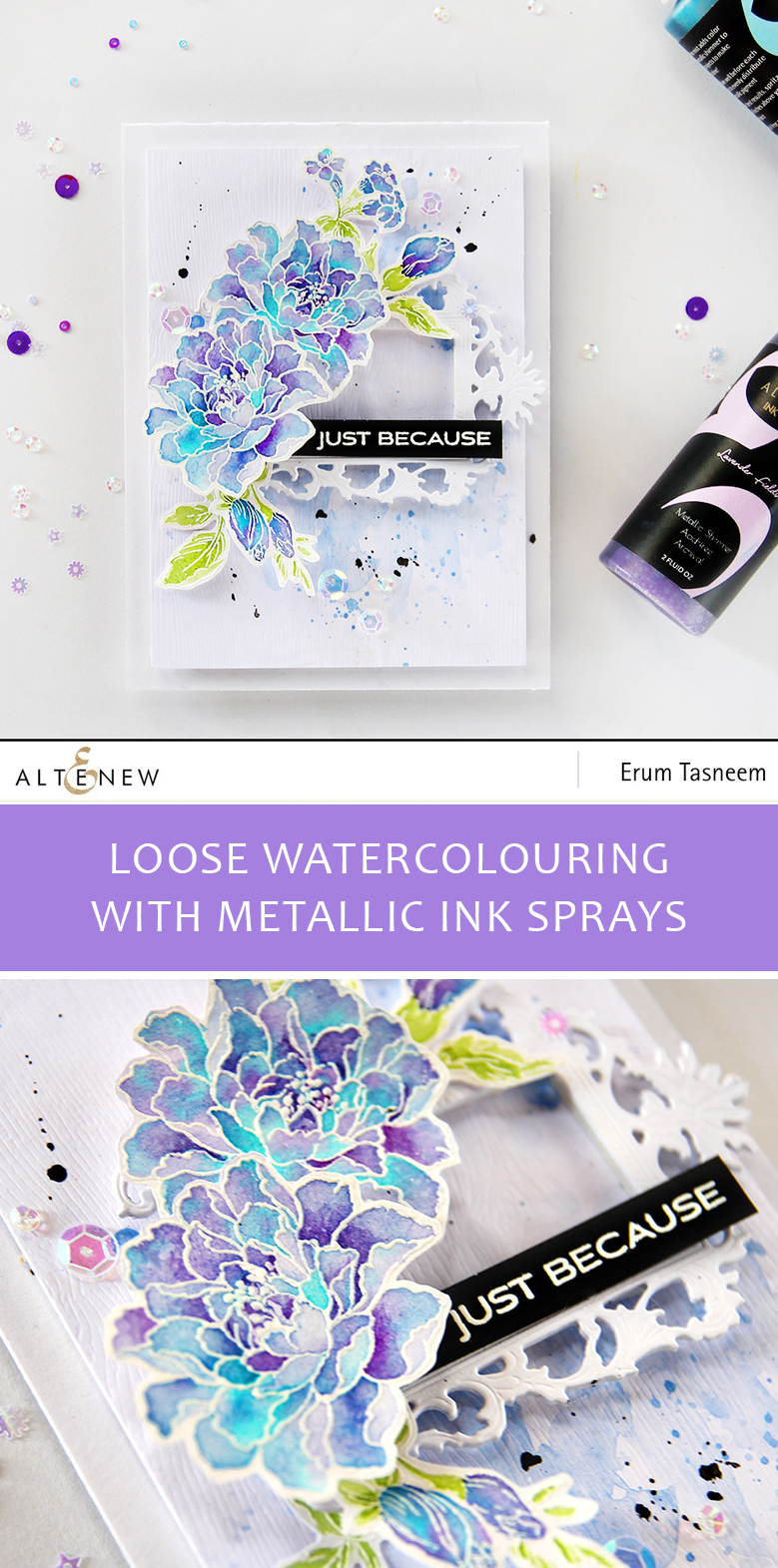 Altenew Remember This stamp set loosely watercoloured with Metallic Ink Sprays by Erum Tasneem - @pr0digy0