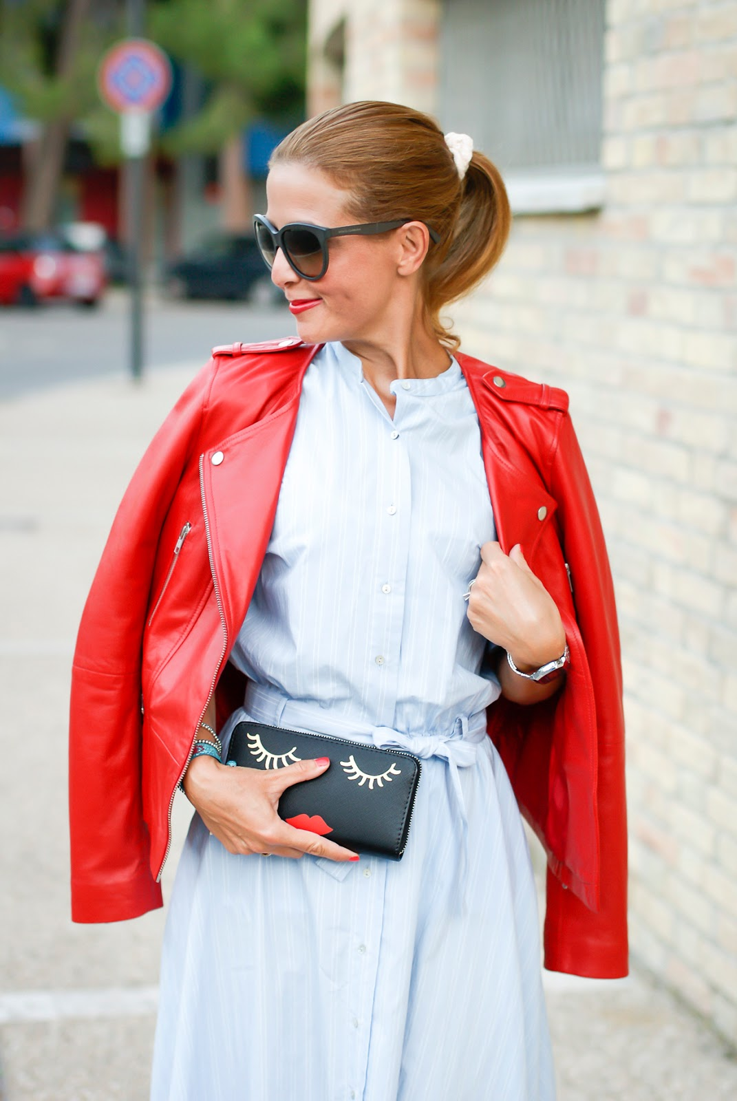 1.2.3 Paris red leather biker jacket and Grease style look on Fashion and Cookies fashion blog, fashion blogger style