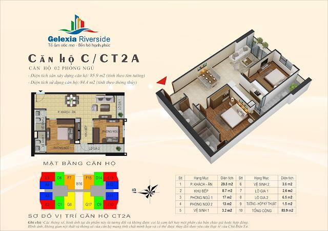 Thiết kế căn hộ C, dt 84m, 2 ngủ, tòa CT2A Gelexia Riverside