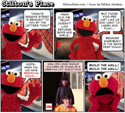 stilton's place, stilton, political, humor, conservative, cartoons, jokes, hope n' change, elmo, cnn, isis, child killers, executions, trump, travel ban