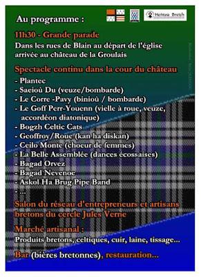 programme Breizh Tartan Deiz - pipe bands, bagads, concerts rock celtique punk folk, danses écossaises, Fest deiz, marché artisanal